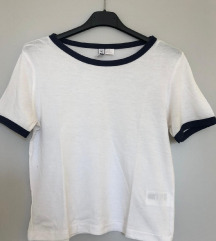 H&M bijela majica s plavim detaljima