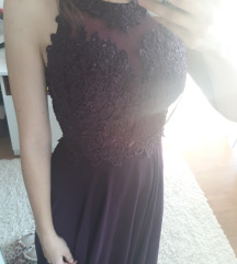 Duga svečana ljubičasta haljina