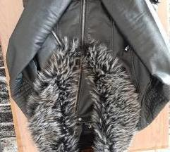 Kožna jakna s krznom L