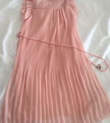 Haljina rozna plisirana