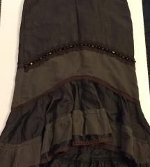 Maslinasta suknja aplicirana i s volanima midi