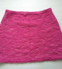 Roza pletena suknja