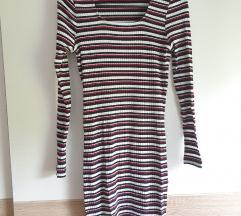Prugasta haljina kvadratnog izreza