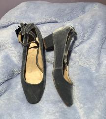 Mango pliš plave sandale cipele na petu 37