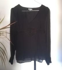 Naf Naf svilena bluza sa detaljima crna