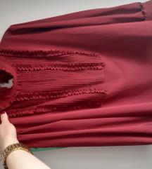 Zara L bluza boje vina s volanima