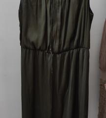 Maslinasta duga svilena haljina