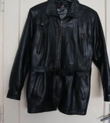 Nova crna kožna jakna - kaput veličina S-M