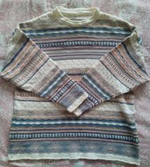 Retro pastelni pulover oversize, xl