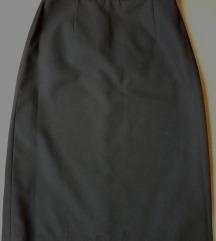 Crna klasična suknja, visoki struk, M/L