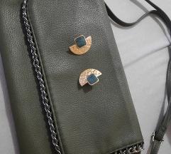Maslinasta torbica + naušnice zlatne%