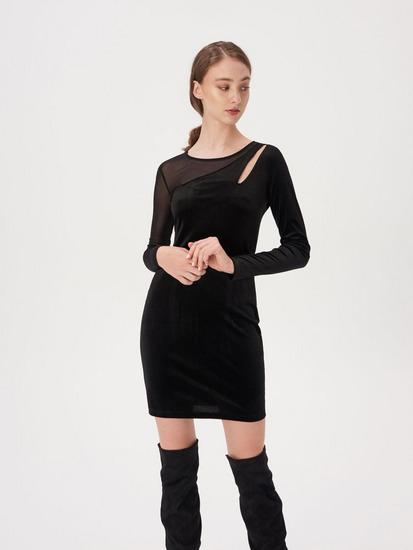 Plišana crna haljina