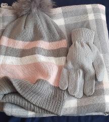 Komplet kapa, šal, rukavice
