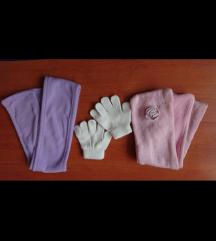 Dva šala i rukavice za bebe i male princeze, lot