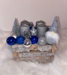 Plavo srebrni adventski vijenac