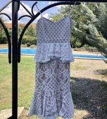 Čipkasta bijela bež haljina
