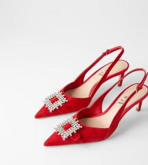 Zara nove kožne cipele s brošem lot