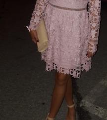 Haljina prljavi roza čipkasta