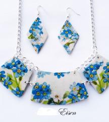 Nova plava unikat ogrlica+naušnice