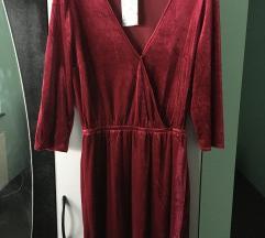 H&M bordo plišana haljina