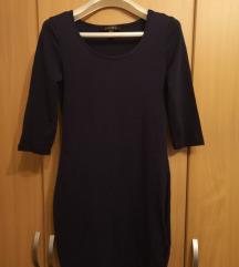 Tamnoplava uska pamučna haljina