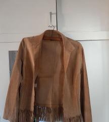 Bež velur koža jakna s resicama