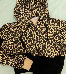 FILA leopard print crop hoodie