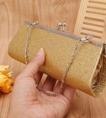Nova mini zlatna svečana torbica