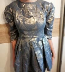 srebrna svečana haljina