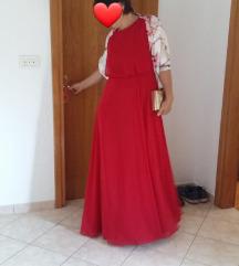 Crvena svečana haljina s izrezom