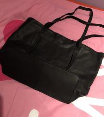 Asos crna kožna velika torba