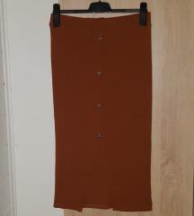 Smeđa midi suknja s prorezom