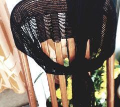 Crni pleteni mrežasti šal 200x25cm