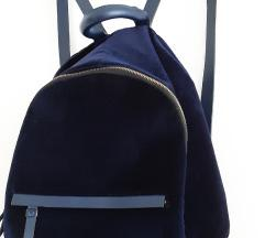 Ruksak/ torba, plavi plis, Zara