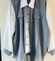Gingham dvostruka košulja tunika/NOVO