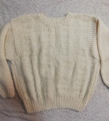 Oversized bijeli strikani pulover M/L