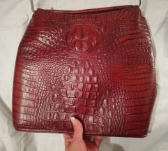 Bordo kozna torba Kroko uzorak
