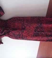 PREDIVNA crvena/print midi haljina L/XL