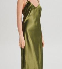 Zelena saten haljina