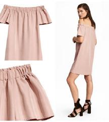 H&M roza haljina off shoulder
