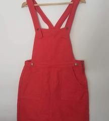 Crvena traper suknja s tregerima