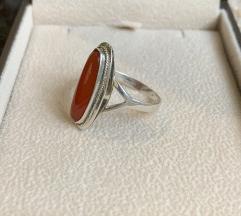 Vintage, prsten srebro, 925, karneol