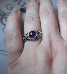 Prsten srebro ametist