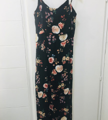 Maxi crna floral haljina vel.M