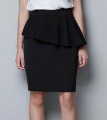 Zara crna suknja s peplumom