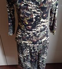 Tamno zelena animal print haljina