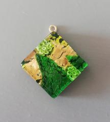 Zeleni murano privjesak