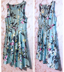H&M - 50s mint floral flare dress - 42