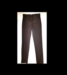 MANGO leggings smeđe/čokoladne s ukrasnim šavom