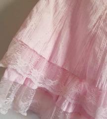 Baby roza izvežena suknja sa čipkom